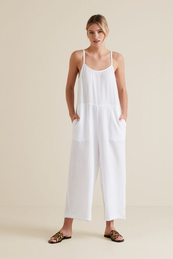 Cheesecloth Jumpsuit  WHISPER WHITE  hi-res