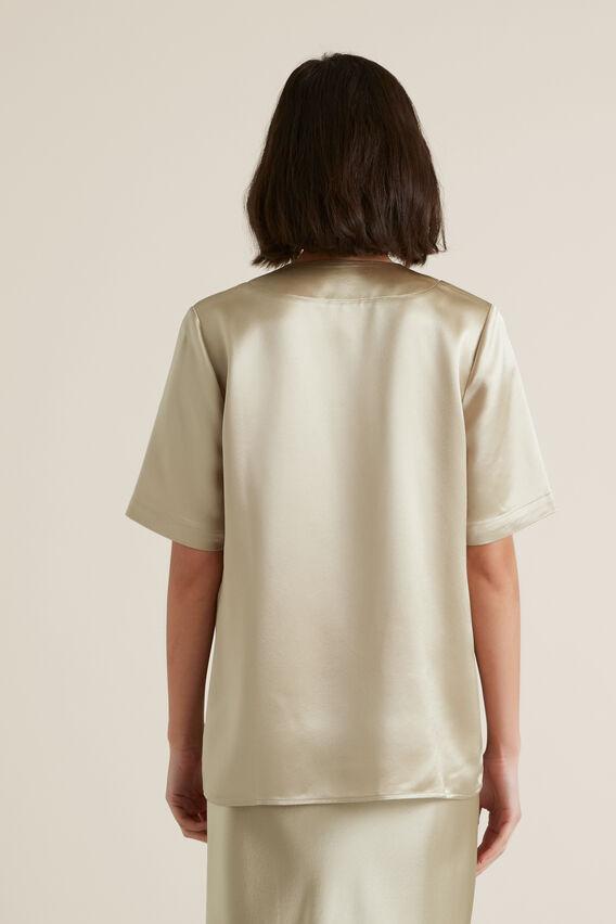 Longline Satin Shirt  QUICKSAND  hi-res