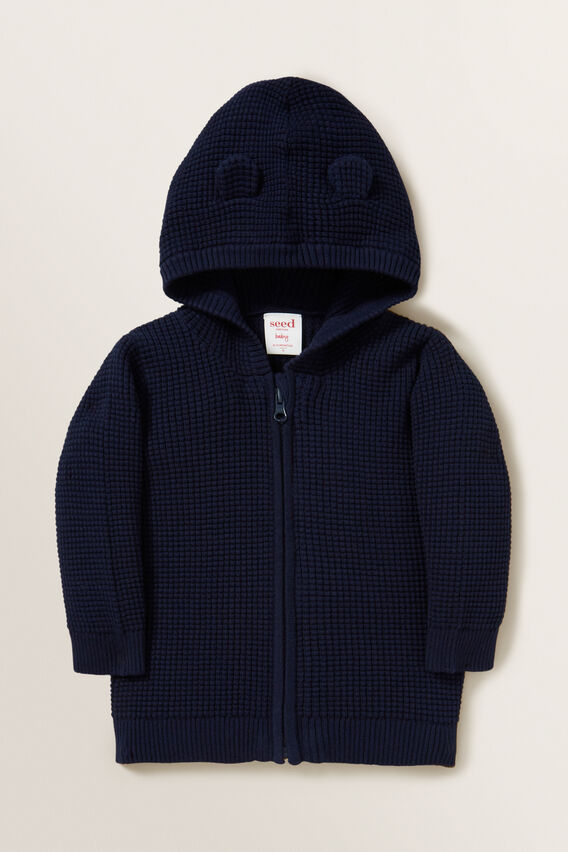 Waffle Knit Hoodie  MIDNIGHT BLUE  hi-res