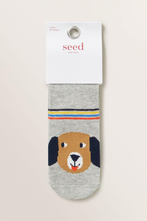 Stripey Pup Socks  GREY MARLE  hi-res
