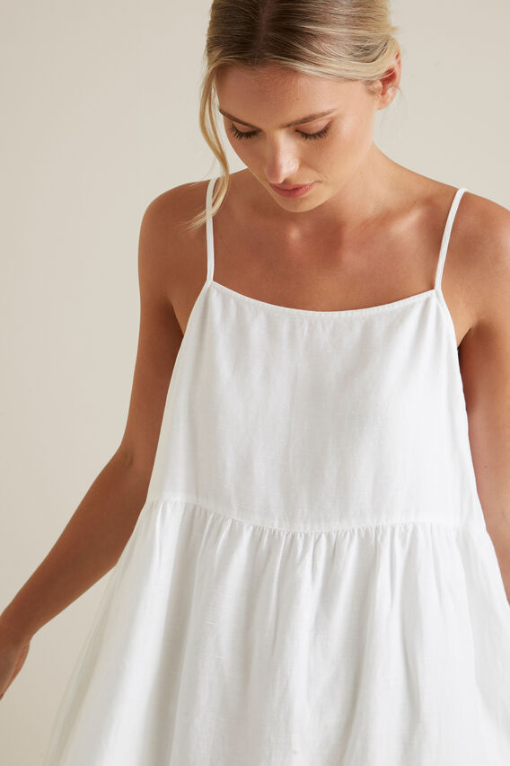 Relaxed Tiered Dress  WHISPER WHITE  hi-res