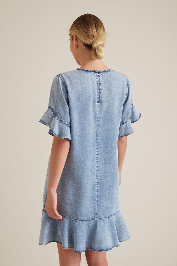 Flutter Sleeve Tencel Dress  LIGHT SKY  hi-res