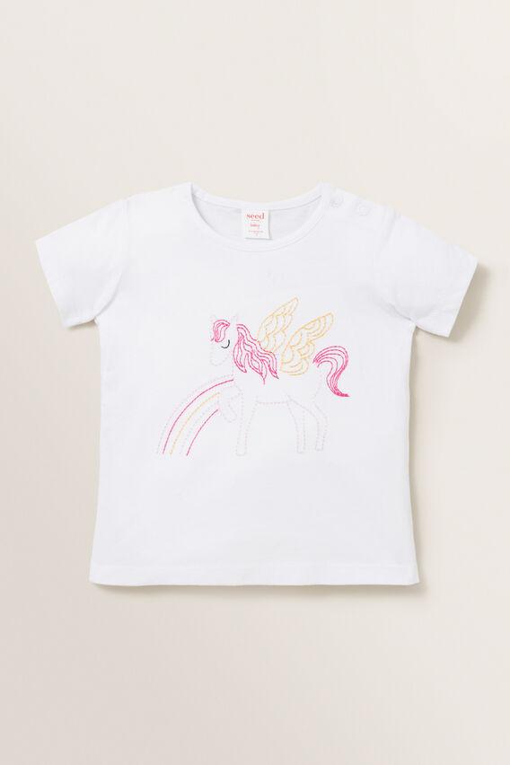 Embroidered Pegasus Tee  WHITE  hi-res
