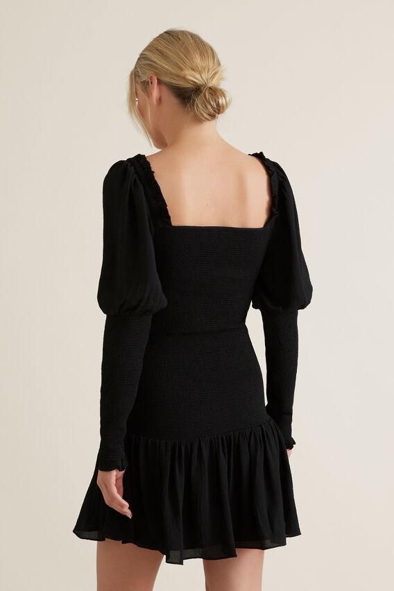 Shirred Body Dress  BLACK  hi-res