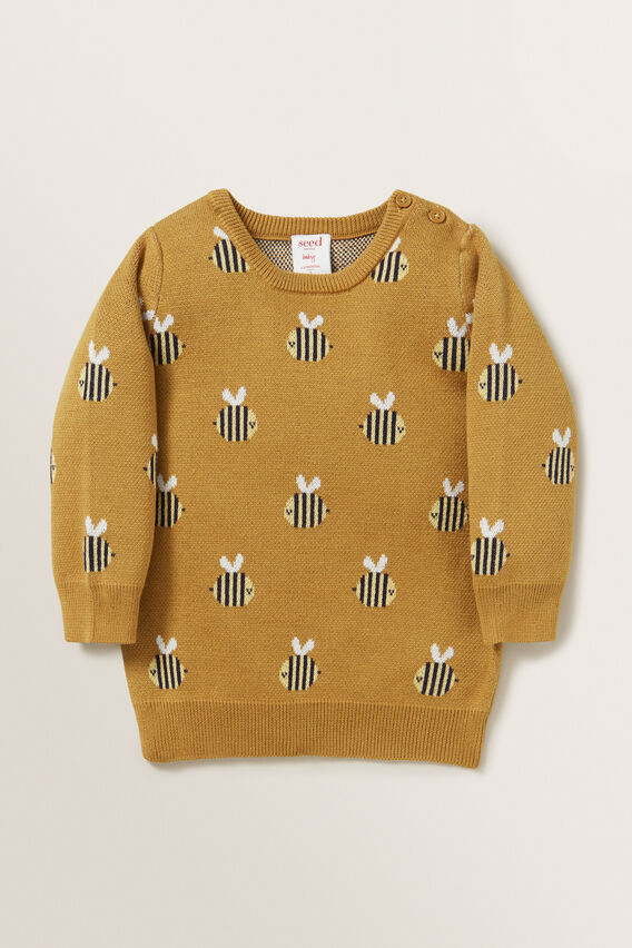 Bee Jacquard Sweater  OCHRE  hi-res
