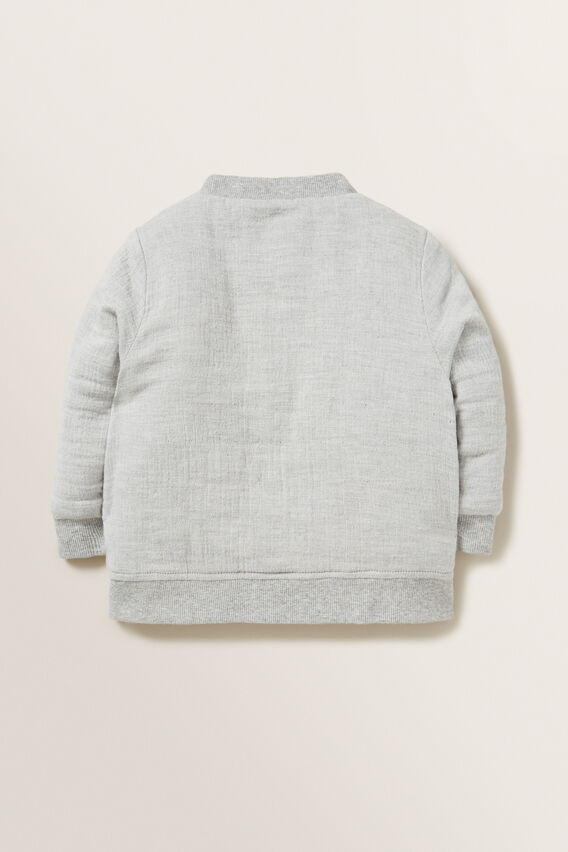 Cheesecloth Bomber Jacket  GREY  hi-res