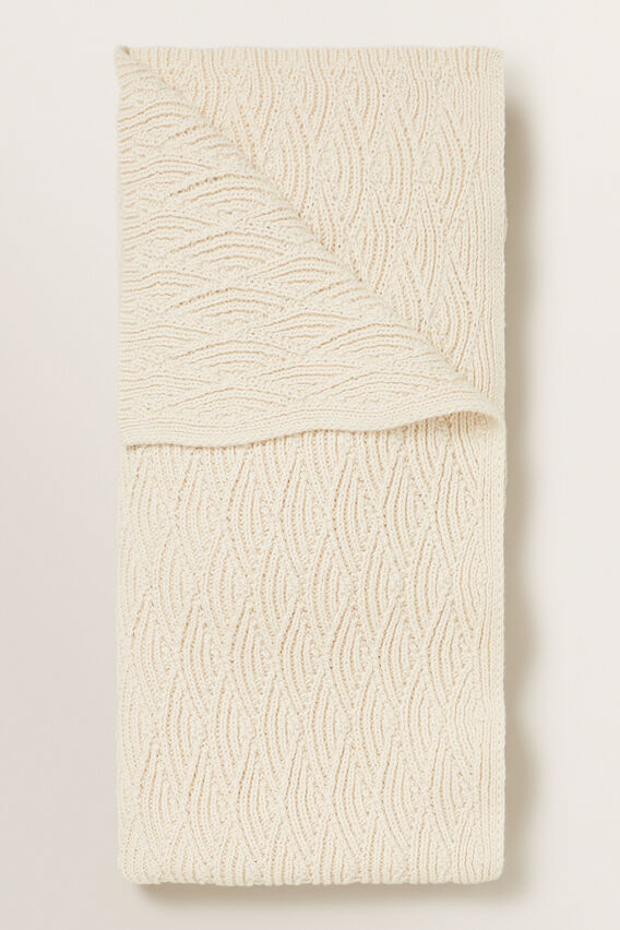 Pointelle Knitted Blanket  RICH CREAM  hi-res