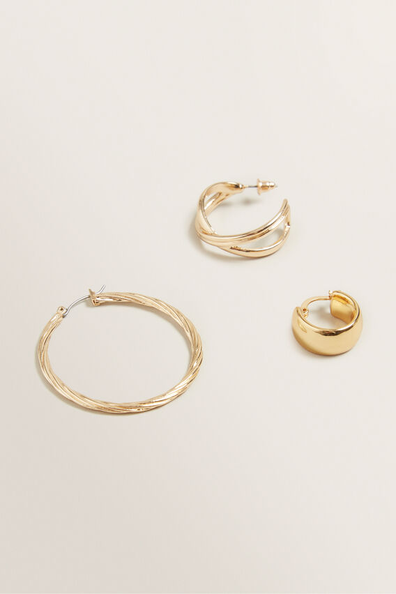 Mixed Gold Hoop Pack  GOLD  hi-res