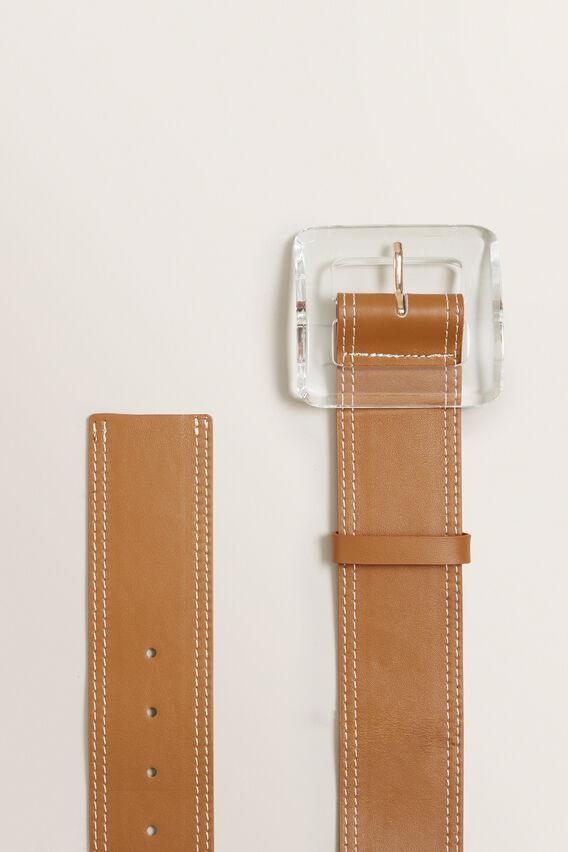 Acrylic Buckle Waist Belt  TAN  hi-res