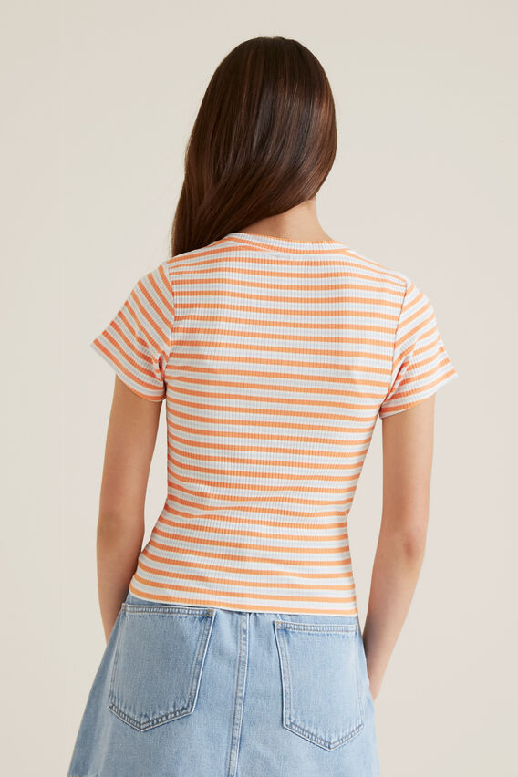 Stripe Tee  PERSIMMON  hi-res