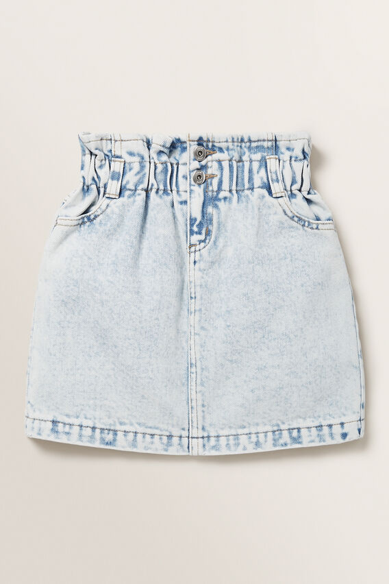 Paperbag Denim Skirt  BLUE ACID WASH  hi-res