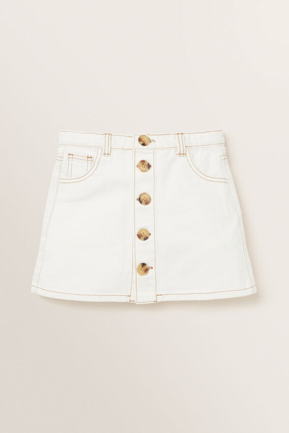 Button Denim Skirt  CREAM  hi-res