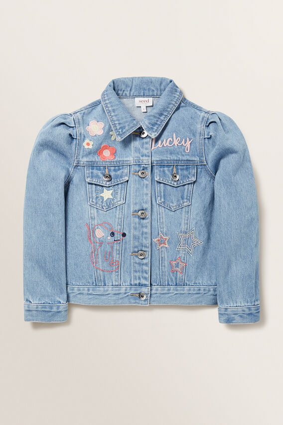 Embroidered Denim Jacket  WASHED BLUE  hi-res