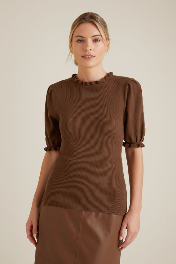 Frill Detail Knit  LIGHT CHOCOLATE  hi-res