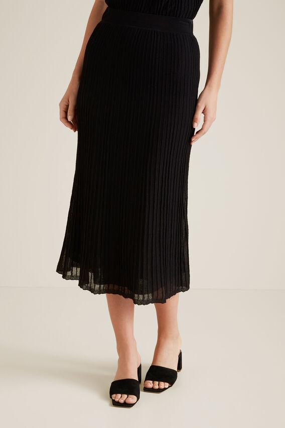 Pleated Knit Skirt  BLACK  hi-res