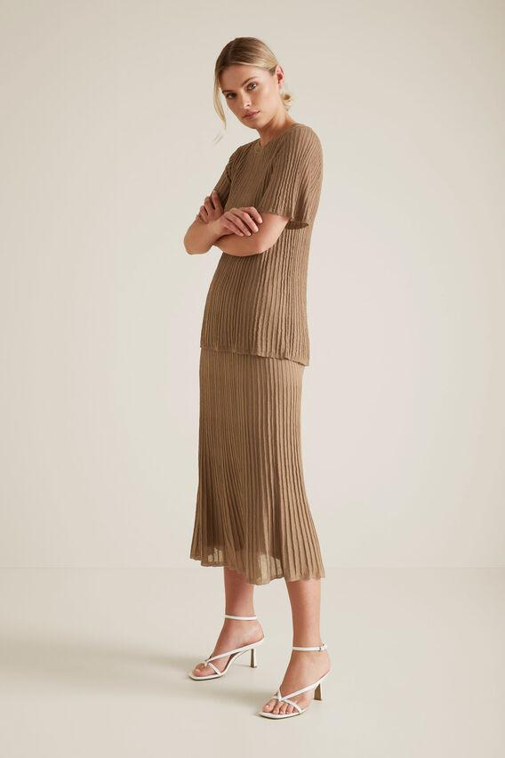 Pleated Knit Skirt  WARM CINNAMON  hi-res