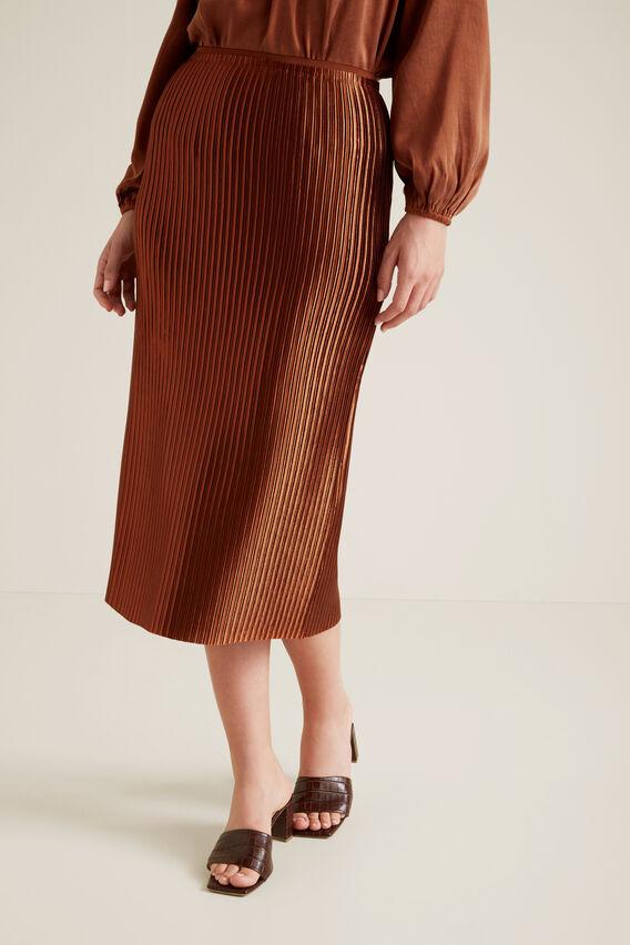 Pleated Column Skirt  ORANGE RUST  hi-res