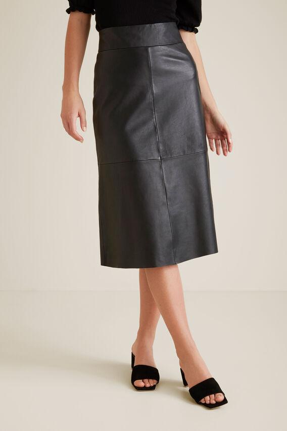A Line Leather Skirt  BLACK  hi-res