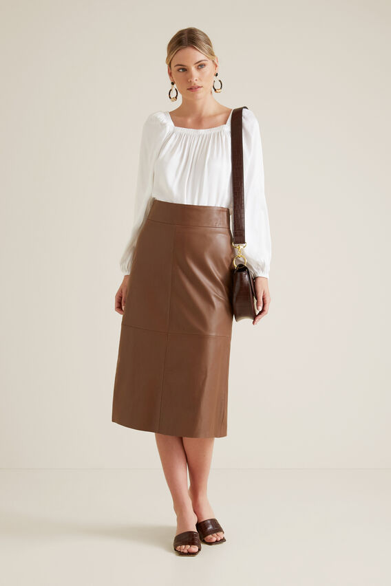A Line Leather Skirt  LIGHT CHOCOLATE  hi-res