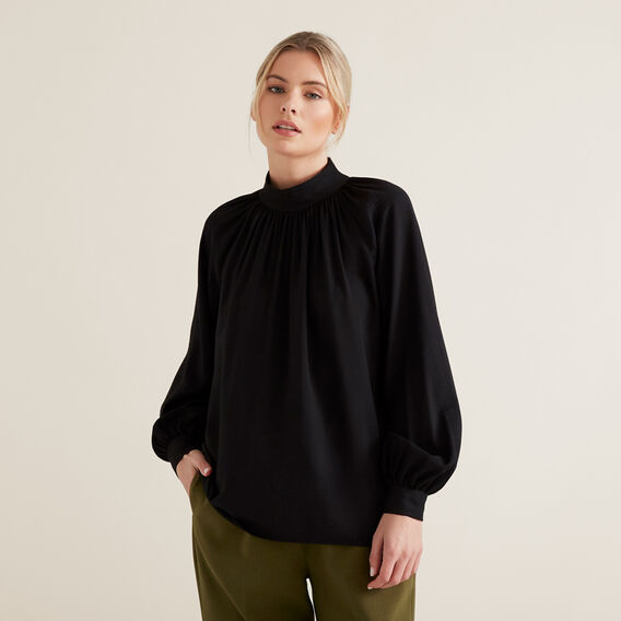 High Neck Blouson Shirt  BLACK  hi-res