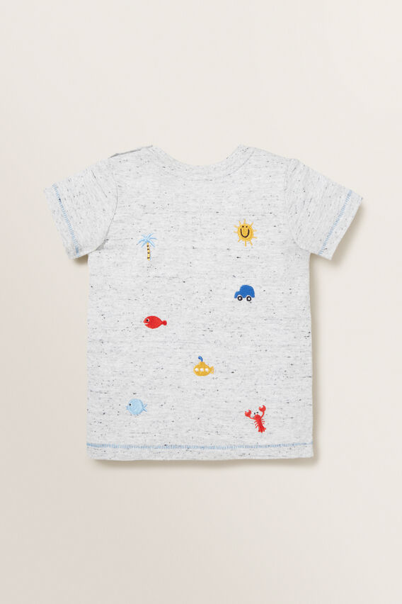 Embroidered Motif Tee  CLOUDY MARLE  hi-res