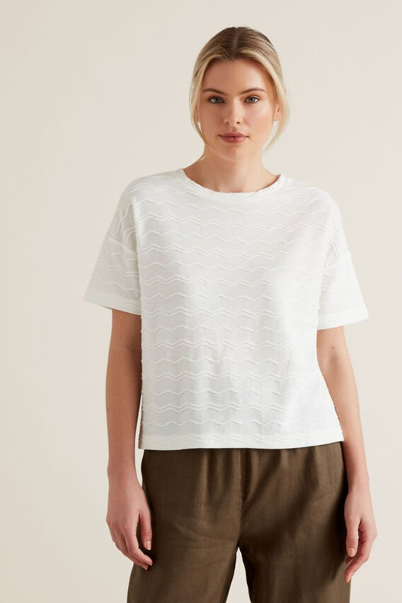 Zig Zag Textured T-Shirt  CLOUD CREAM  hi-res