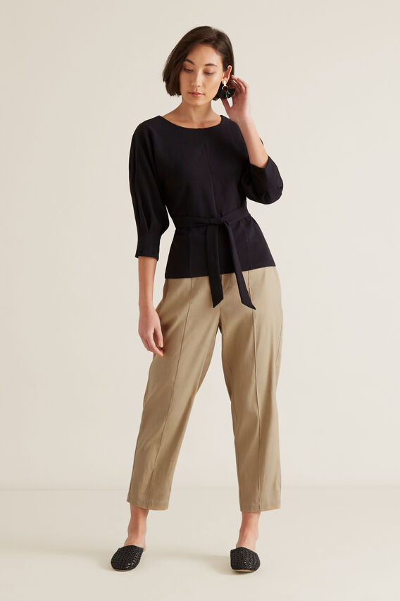 Linear Textured Tie Top  BLACK  hi-res