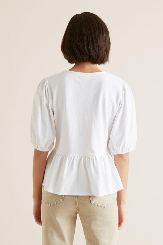Peplum Blouson Sleeve Top  WHISPER WHITE  hi-res