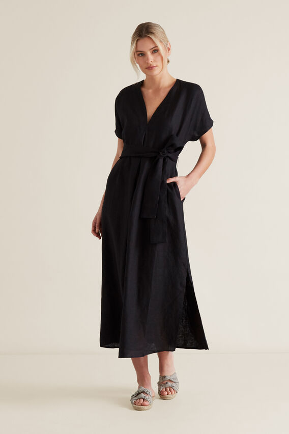 Linen Tie Up Dress  BLACK  hi-res