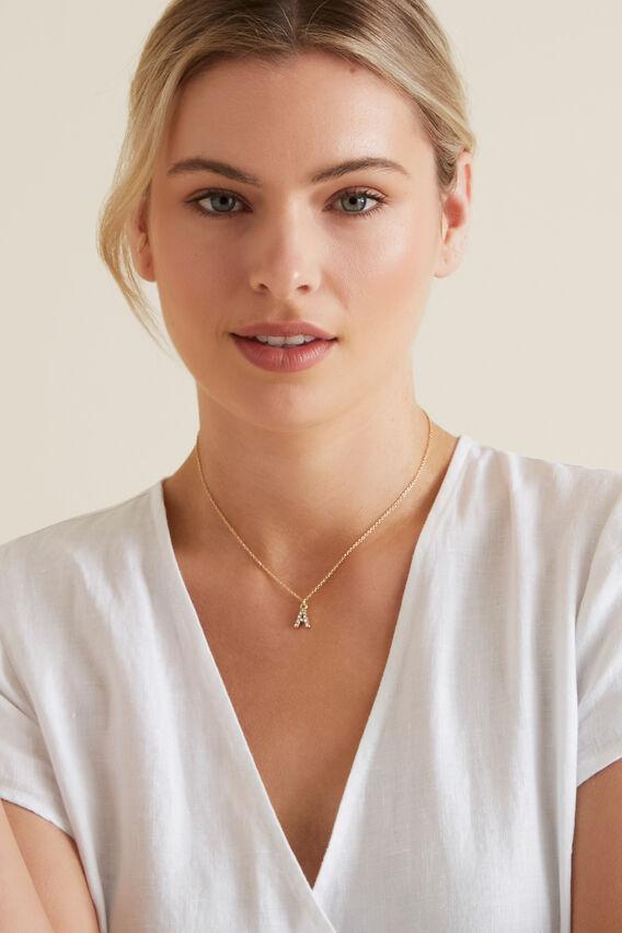 Diamante Initial Necklace  A  hi-res