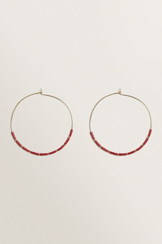 Fine Bead Hoops  BOLD POPPY  hi-res