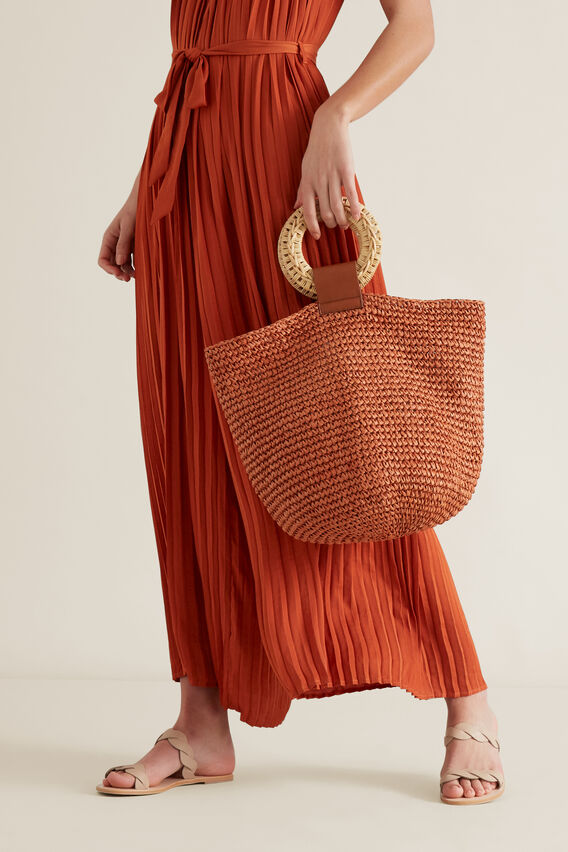 Rattan Handle Woven Tote  SUNBURNT ORANGE  hi-res