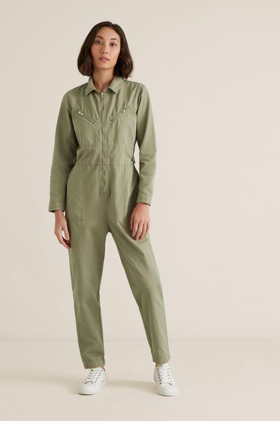 Zip Detail Boiler Suit  WASHED OLIVE  hi-res