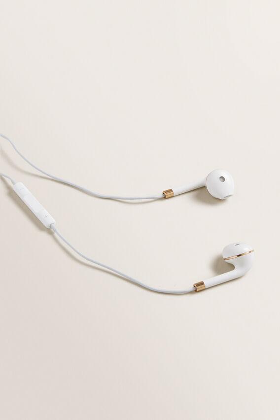 Metallic Headphones  WHITE/GOLD  hi-res