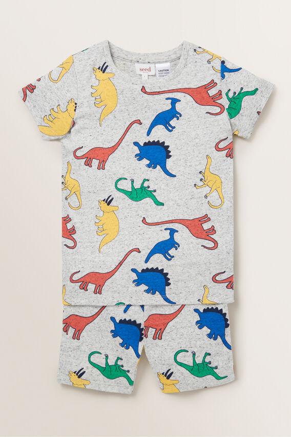 Colour Block Dino Pyjama  CLOUDY MARLE  hi-res