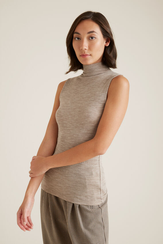 Sleeveless Knit Top  SAND MARLE  hi-res