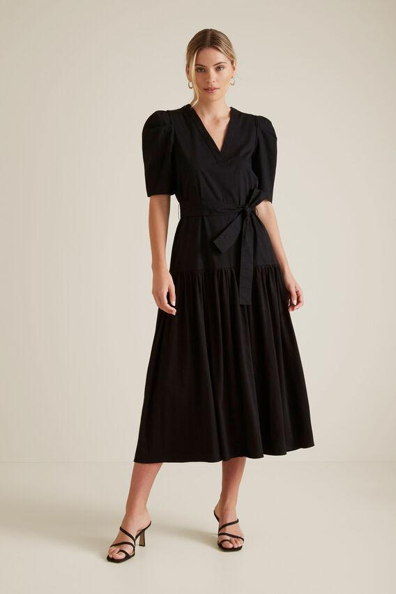 Puff Sleeve Midi Dress  BLACK  hi-res