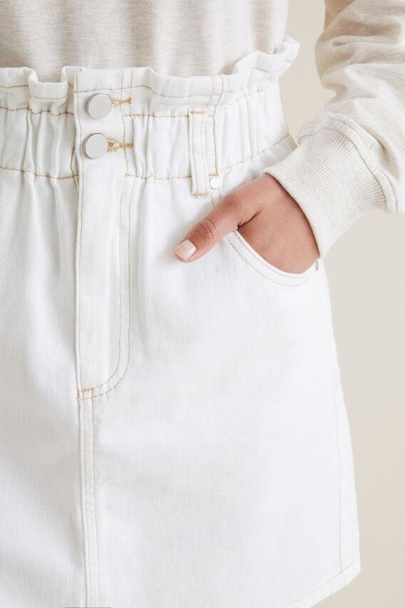 Paperbag Denim Skirt  WHITE WASH  hi-res