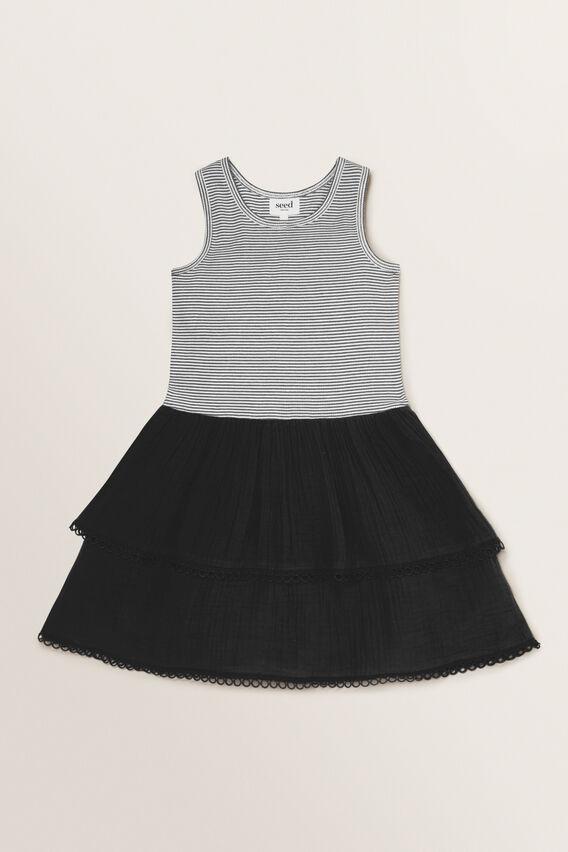 Spliced Rib Dress  BLACK/WHITE  hi-res