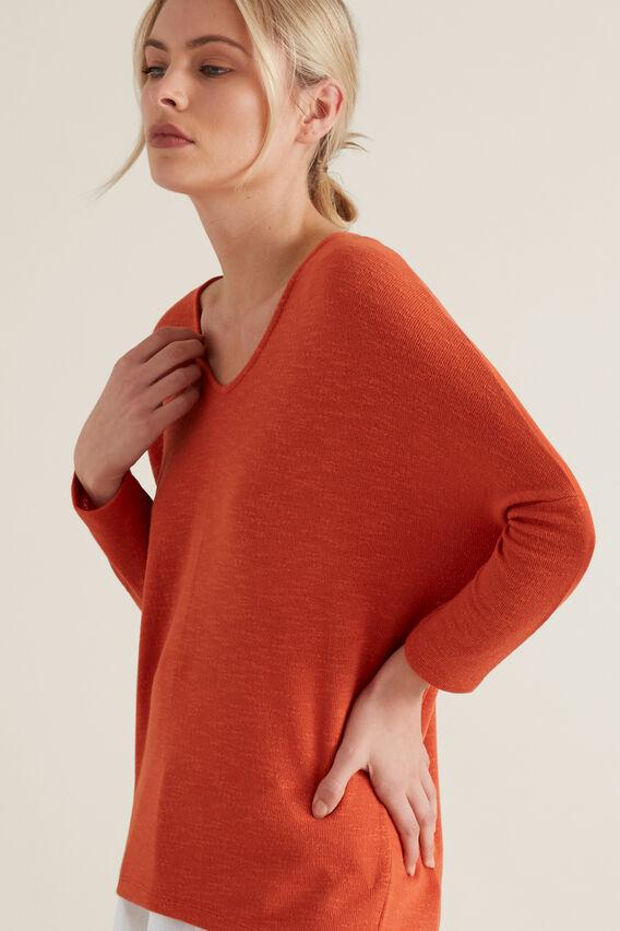 3/4 Sleeve Textured Top  SUNBURNT ORANGE  hi-res
