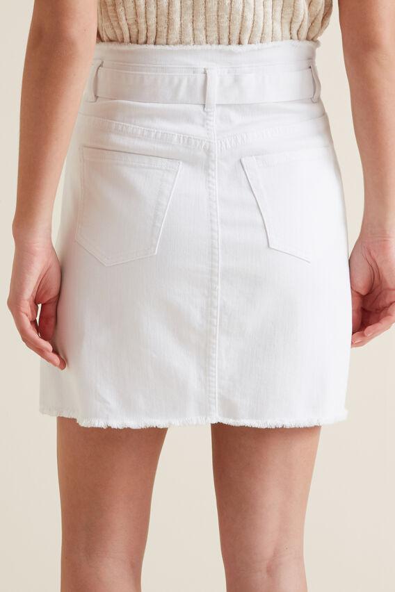 Belted Denim Skirt  WHITE  hi-res