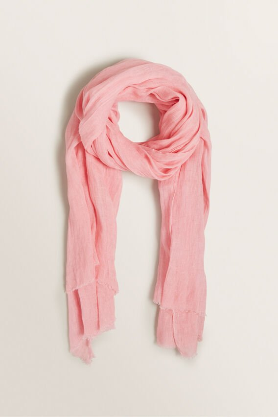 Linen Scarf  WATERMELON PINK  hi-res