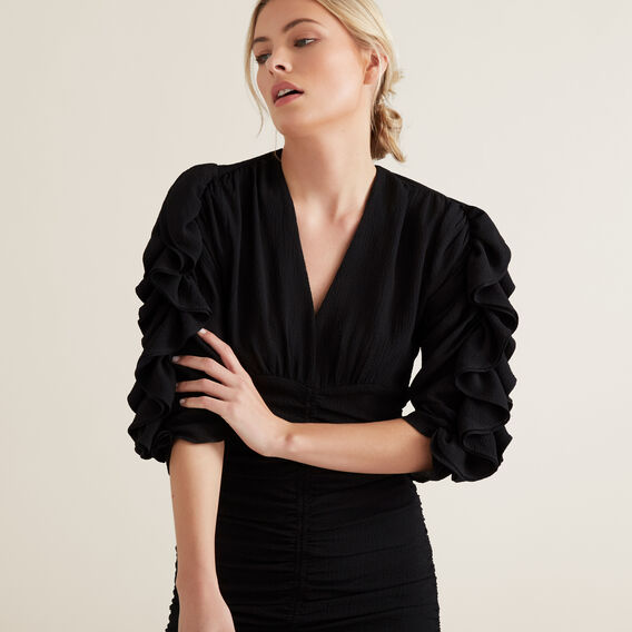 Textured Frill Sleeve Dress  BLACK  hi-res