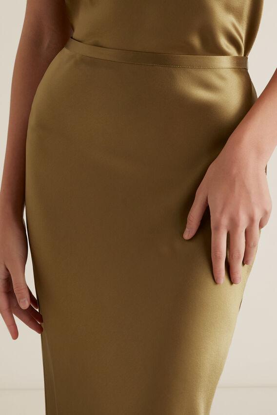 Satin Midi Skirt  HONEY BROWN  hi-res