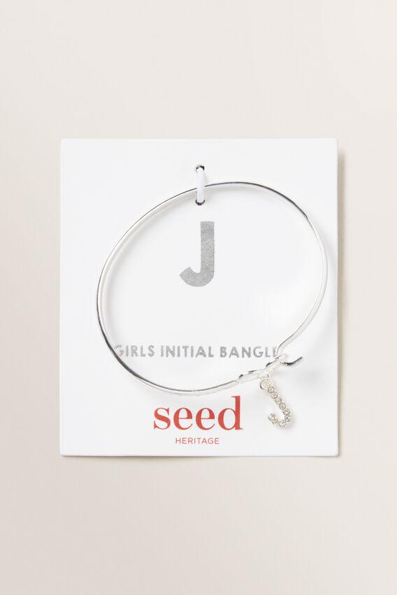 Silver Initial Bangle  J  hi-res