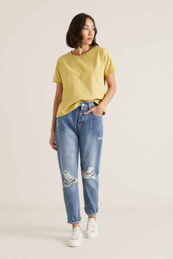 Boxy Split Hem Tee  DUSTY MARIGOLD  hi-res