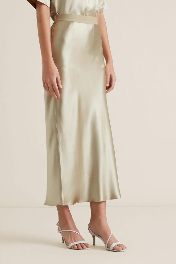 Satin Midi Skirt  QUICKSAND  hi-res