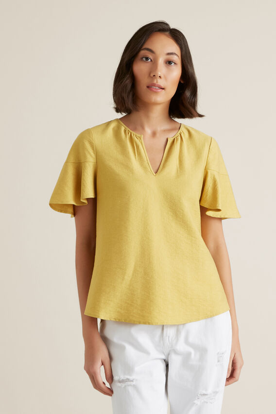 Flutter Sleeve Blouse  DUSTY MARIGOLD  hi-res