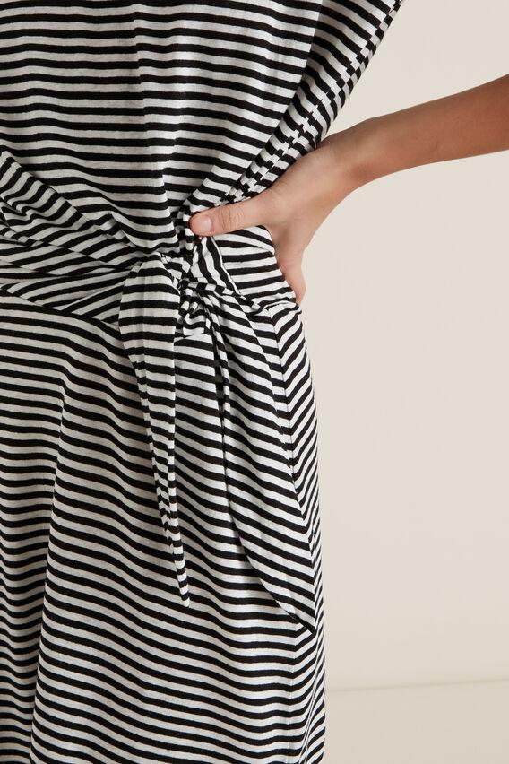 Tie Up Stripe Dress  BLACK STRIPE  hi-res