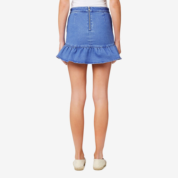 Frill Hem Skirt  BLUEBELL DENIM  hi-res